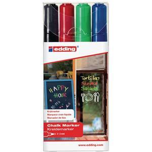 Edding 4095 Chalk Markers Bullet Tip (Assorted Colours: Black/Red/Blue/Green)