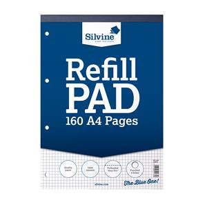 Silvine (A4) Refill Pad (160 Pages) Headbound Perforated Punched