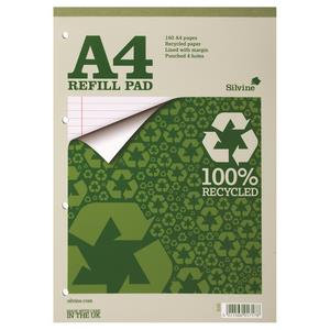 Silvine A4 Everyday Refill Pad Recycled 70gsm Ruled Margin 160 Pages
