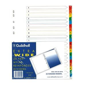 Guildhall 20 Part Printed Index Clear Mylar A-Z