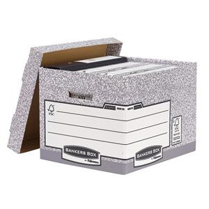 Bankers Box by Fellowes System (A4/Foolscap) Standard Storage Box (Grey/White)