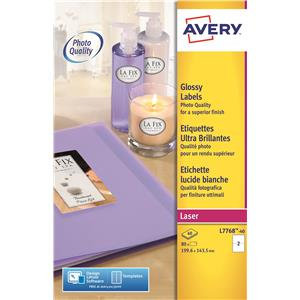 Avery White Glossy Colour Laser Labels (Various Sizes and Pack Sizes)