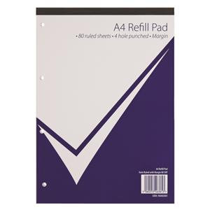 Nu Office (A4) Refill Pad 160 Pages 80 Sheets 60g/m2 Feint Ruled and Margin