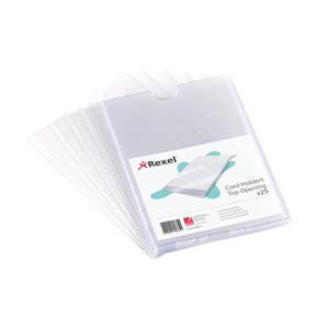 Rexel Nyrex Top Opening Card Holders (Clear) / Pack of 25