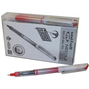 Uni UB-187S Eye Needle Fine Rollerball Pen L-0.5mm T-0.7mm Red