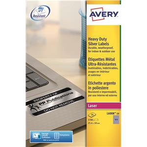 Avery Silver Heavy Duty Labels (Various Sizes and Pack Sizes)