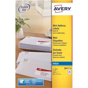 Avery Mini Inkjet Labels  White A4 (Various Sizes and Pack Sizes)