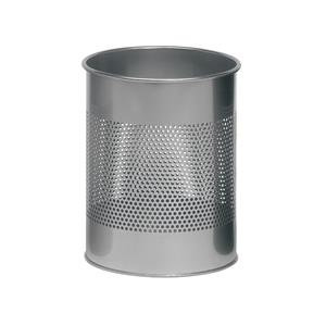 Durable (15 Litres) Waste Basket Metal Round with 165mm Perforation Ring Silver