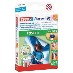 Tesa Powerstrips Poster (Up to 200g) Removable Self Adhesive Strips (20 Strips)