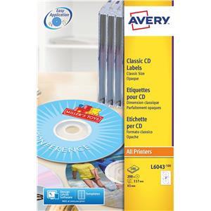 Avery 117m Dia Transparent Classic Size CD Labels