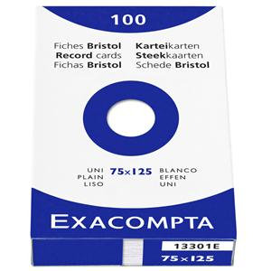 Exacompta Record Cards Paper Plain 75x125mm White 100 Sheets
