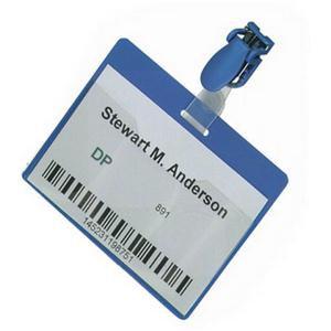 Durable (60x90mm) Visitor Name Badge - Landscape (Blue)