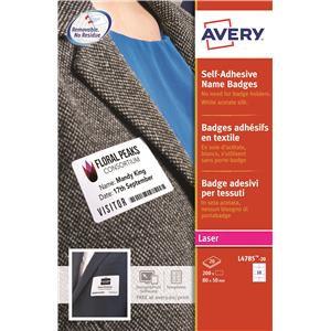 Avery White self adhesive name badges acetate silk