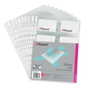 Rexel A4 Clear Multipunched Business Card Pockets (20 Business cards per sheet)