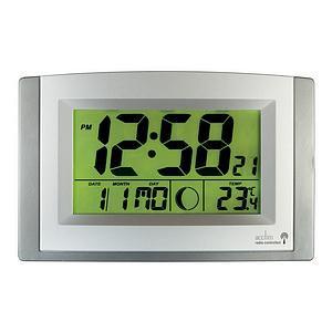 Acctim Stratus Radio Controlled LCD Wall/Desk Clock (Silver)