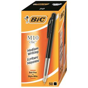 Bic M10 Clic Retractable Ballpoint Pen 1.0mm Tip 0.4mm Line / Pack of 50