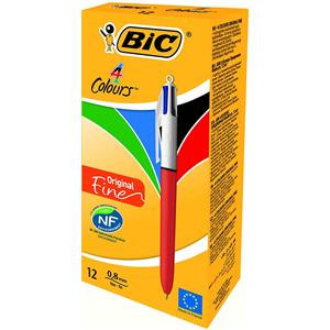Bic 4-Colours Original Fine Ballpoint Pen 0.8mm Tip 0.3mm (Blue/Black/Red/Green)