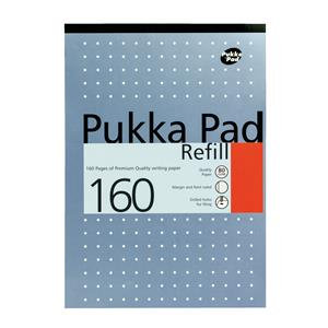 Pukka Pad A4 Refill Pad Headbound Ruled with Margin Punched 80gsm 160 Pages