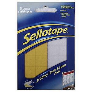 Sellotape Sticky Hook & Loop Pads 20x20mm