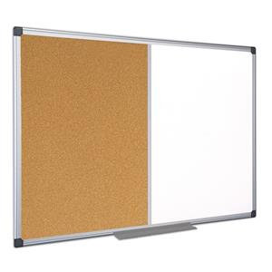 Bi-Office Maya Combination Board (Cork/Lacquered Steel) Magnetic Aluminium Frame