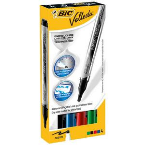 Bic Velleda Liquid Ink Dry Wipe Pocket Whiteboard Markers Assorted