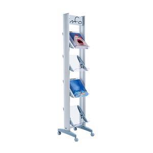 Fast Paper Corner Mobile Display with Plexiglass Shelves Aluminium DD