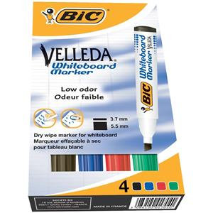 Bic Velleda 1751 Chisel Tip Whiteboard Marker (Assorted Colours)