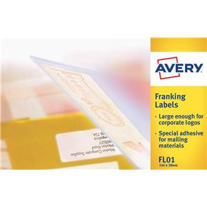 Avery FL01 Adhesive Franking Label Double All Machines (White)