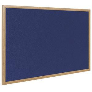 Bi-Office Earth-It (1200 x 1200mm) Felt Notice Board Oak Frame Blue