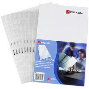 Rexel Budget Embossed A4 Pockets Top Opening Clear
