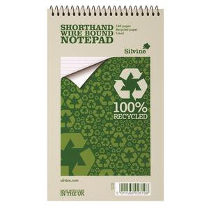 Silvine Everyday Shorthand Notepad (70gsm) Recycled Wirebound Ruled (160 Pages)