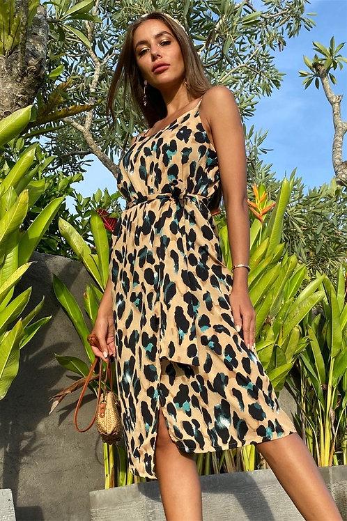 Leopard Midi Dress with Belt