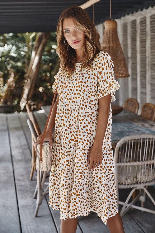 Polka-Dot Printed BabyDoll Midi Dress
