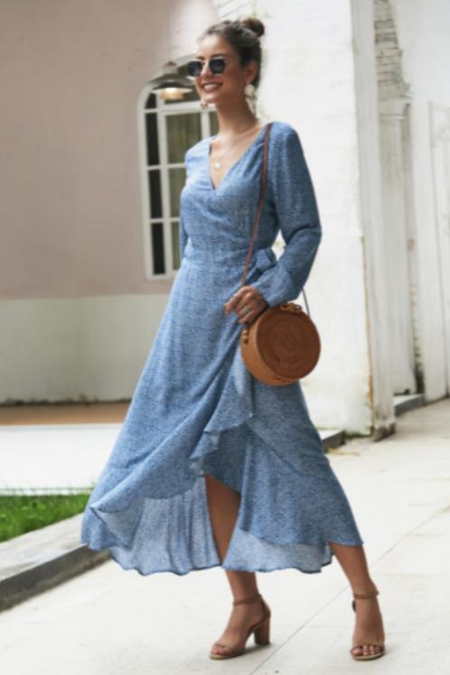 Long-Sleeved Dots & Ruffles Dress