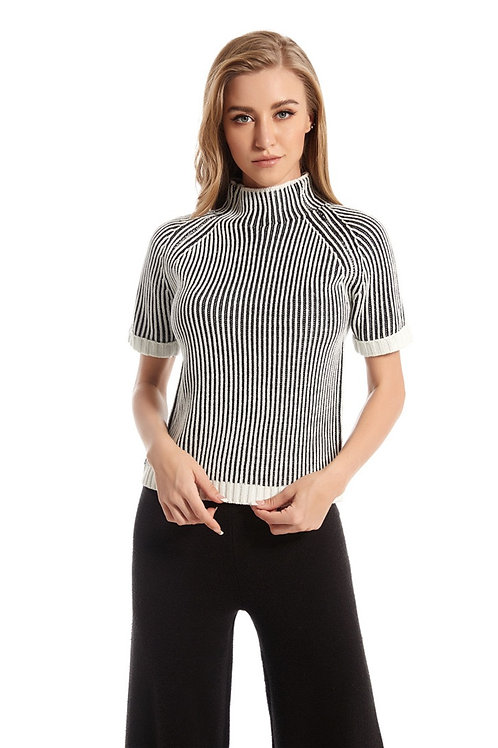 High-Stretch Short Sleeve Sweater