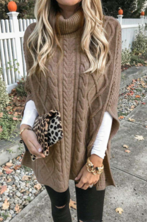 Turtle-Neck Knit Cape Sweater