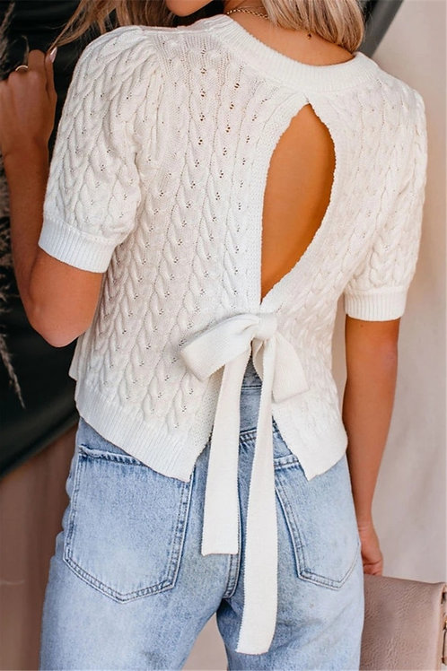 Knitted Sweater w/ Reverse Knotted Bow