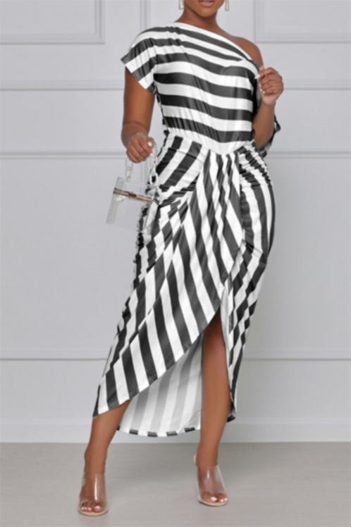 Off-the-Shoulder Stripped High-Low Midi
