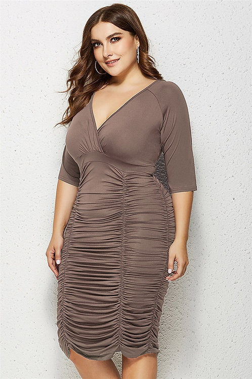 V-Neck Elastic Waist Shirring Dress