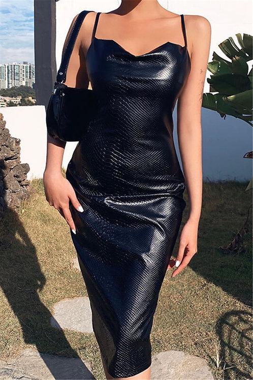 Black Snake Skin Leather Dress