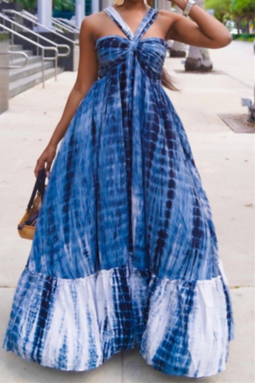 Hues of Blue Halter Maxi Dress