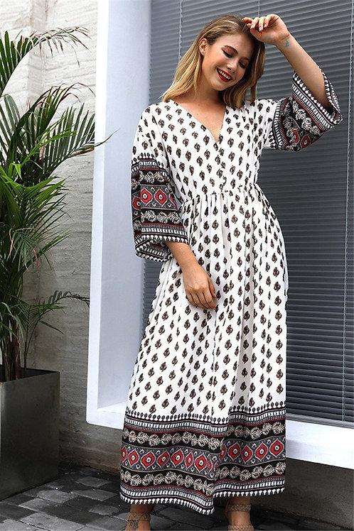 Boho Inelastic V-neck maxi Dress
