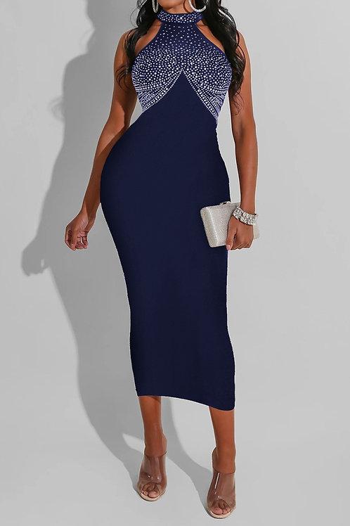 Sleeveless Beaded Knit Midi Dress