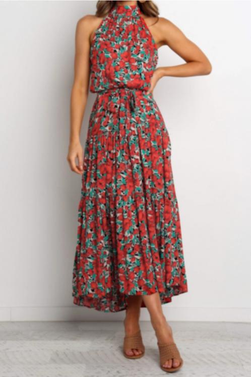 Floral A-line Tea-Cup Dress