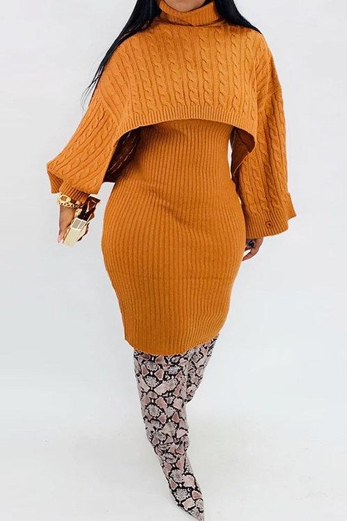 Mock-Neck 2pc Sweater Dress