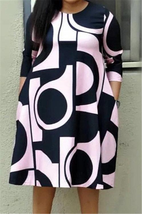 Digital Abstract Knee-Length Dress