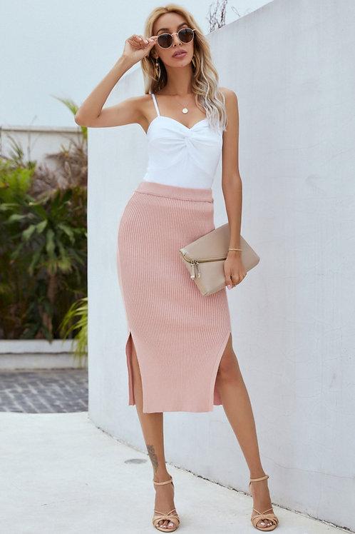Knit Side-Split Midi Skirt