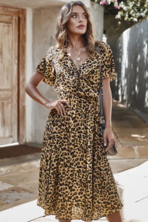 Cheetah Print Ruffled Midi Dress