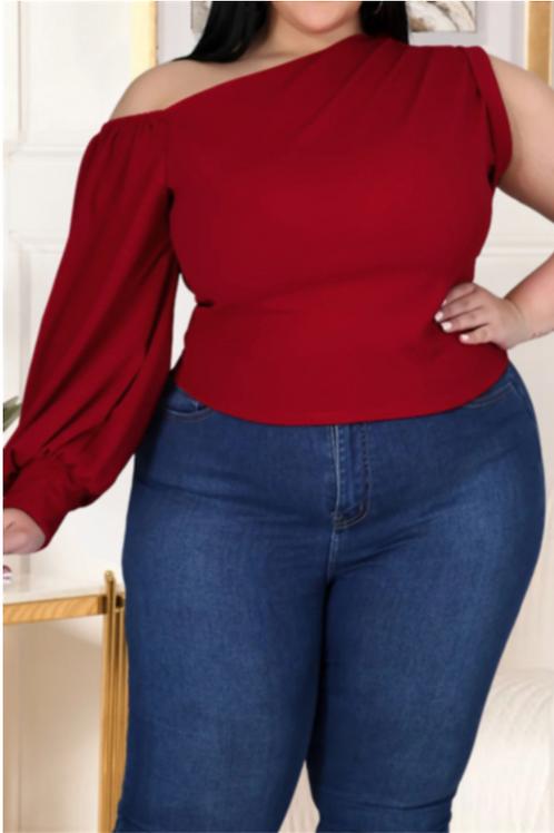 One Shoulder Long-Sleeve Blouse