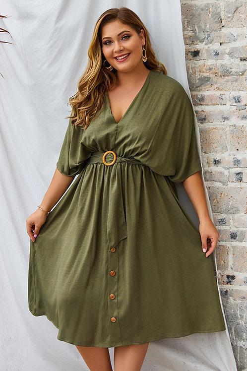 Airy V-Neck Belt Dress